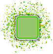 Green Confetti Banner Isolated On White Background. Set Of Particles