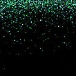 Green Confetti Isolated On Black Background. Abstract Green Parts