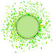 Green Confetti Round Banner Isolated On White Background. Set Of Particles