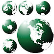 Green Earth Globe From Six Views