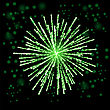 Green Firework Lights Up The Sky On Black Background