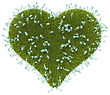 Green Grass Heart Shape With Forget-me-not Flowers Over White Background