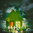 Green House Under The Starry Night Skies, Environmental Backgrounds