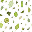 Green Leaf. Hand Drawn Seamless Pattern. Vector Background