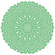 Green Mandala Isolated On White Background. Round Ornament