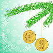 Green Silhouette Of A Fir Branch With Two Shiny Coins stock illustration