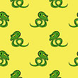 Green Snake Seamless Background. Animal Pattern. Attack Crawling Danger Predator