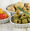 Green Stuffed Olives,Marinated Mushrooms And Sweet Peppers stock photography