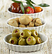 Green Stuffed Olives,Marinated Mushrooms And Sweet Peppers stock photo