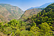 Landscape Green Terraces, Annapurna Conservation Area, Nepal stock photography