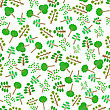 Green Trees Silhouettes Seamless Pattern On White