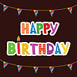 Greeting Card With Birthday Candles In Bright Colors With Text Happy Birthday