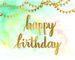 Greeting Card For Birthday With Hand Drawn Art Green Hand Drawn Texture Background And Text Happy Birthday With Gold Flag Garlands