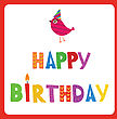 Greeting Card With Text Happy Birthday And Cute Bird In Holiday Hat