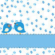 Greeting Card With Two Cute Birds On Watercolor Painting Seamless Background