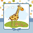 Greeting Card With Giraffe stock vector