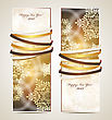 Greeting Cards With Ribbons, Snowflakes And Copy Space
