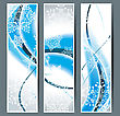 Greeting Cards With Snowflakes And Blue Waves