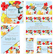 Greeting Invitation Card Set With Floral Design
