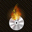 Grey Digital Burning Compact Disc With Fire And Flame On Dark Steel Perforated Grid stock vector