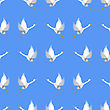 Grey Geese Seamless Pattern On Blue Background. Animal Bird Texture