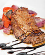 Grilled Beef Steak With Vegetable Closeup At Plate stock photo