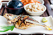 Grilled Jack Mackerel Fish With Salt Japanese Traditional Food stock photo