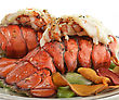 Grilled Lobster Tail With Asparagus ,Close Up stock photography