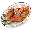 Grilled Lobster Tail Served With Asparagus stock photo