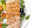 Grilled Salmon Fillet With Vegetables stock photo