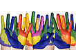 Messy Group Of Child Hands Painted In Colorful Paints stock photo