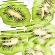 Group Of Cross A Kiwi-fruits Under Water. Abstract Background. Close-up. Studio Photography stock image