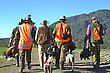 Group Of Friends Return From Their Pheasant Hunt With Plenty Of Game On The West Coast Of New Zealand stock image