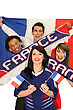 Group Of Friends Supporting The French Football Team stock image
