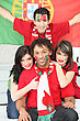 Group Of Friends Supporting The Portuguese Football Team stock image