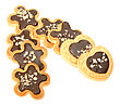 Group Of Golden Biscuits With Chocolate And Nuts In The Form Of Flowers And Hearts Close-up Studio Photography stock photo