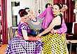 Pinup Group Happy Smiling People In Retro Style stock photography