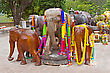 Group Of Decorated Wooden Elephants stock image