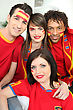 Group Of Spanish Sports Fans stock photo