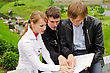 Group Of Students Studying Outdoors stock image