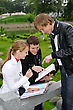 Group Of Students Studying Outdoors stock photo