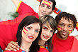 Group Of Young Spanish Football Supporters stock photography