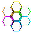 Group Of Six Hexagons With Copy Space For Text Connected Like A Honeycomb stock photo