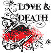 "Grunge Angular Vignette With Two Guns And And By Inscription "" Love & Death"" stock illustration"