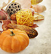 Grunge Background Of Pumpkin And Fall Items stock photography