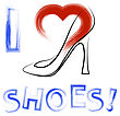 Grunge Hand Drawn Shoes Poster With Positive Quote. Silhouette Of Modern Woman Shoes With Red Heart And Positive Words