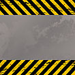 Grunge Metal Plate With Costruction Warning Stripes