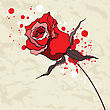 Grunge Red Rose. Crumpled Paper Background. Vector Illustration stock vector