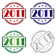 Grunge Rubber Stamp With 2011 In Colors