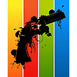 Grunge Sketch Of A Pistol Over Rainbow Colors stock vector
